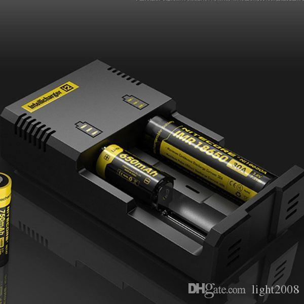 Orijinal Nitecore I2 Evrensel Şarj 1 Muliti Fonksiyon Intellicharger Şarj edilebilir serbest gemi Çığ 2 16340 18650 14500 26650 Pil E