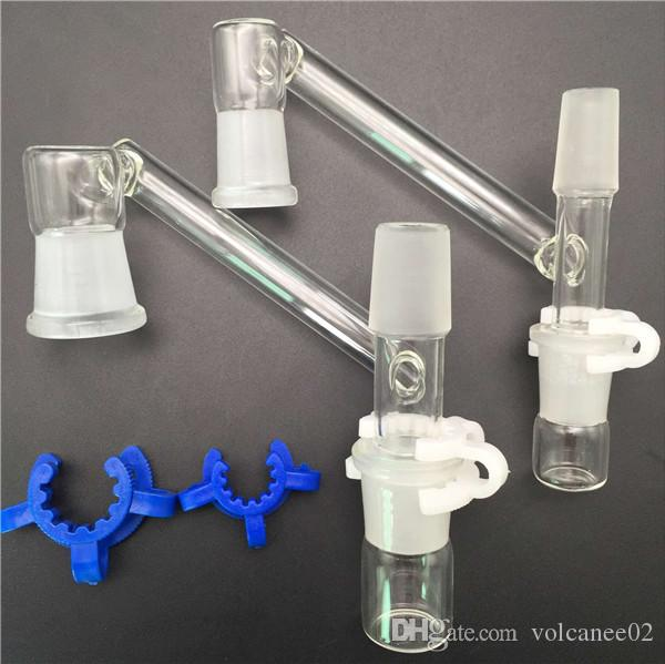 18mm Glass Dropdown Reclaimer Adapter Water Pipes with One Glass Bowl Two Plastic Keck Clip Green White fit Oil Rigs