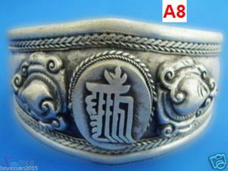 Bracciale con 6 bracciali in argento 6 razze in stile Tibet