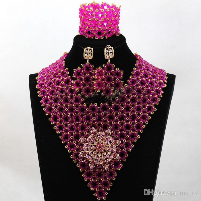 High quality blue white gold austrian crystal jewelry set with Rhinestone bracelet necklace and earrings gold plated necklace jewelry set