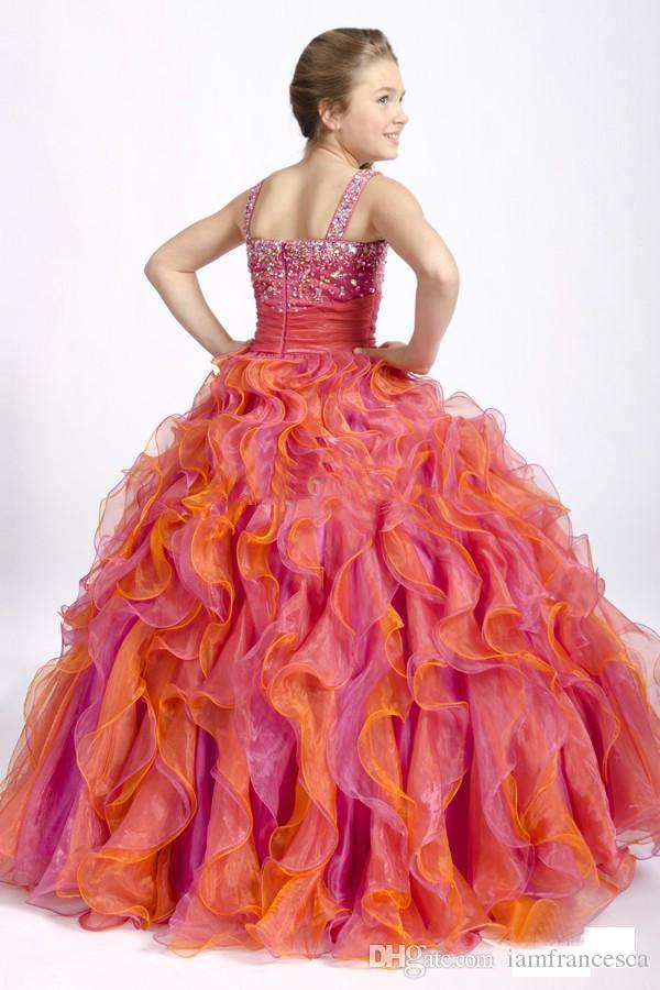 Fuchsia Orange Organza Girl's Pageant Dresses Beaded Bodice Ball Gown Princess Flower Girl Dresses with Ruffled Organza Skirt