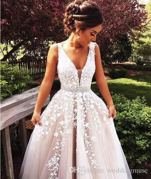 Elegant V Neck Sleeveless Prom Dresses A Line Appliques White Lace Beaded Belt Sexy Formal Long Evening Party Dress Cocktail Gowns