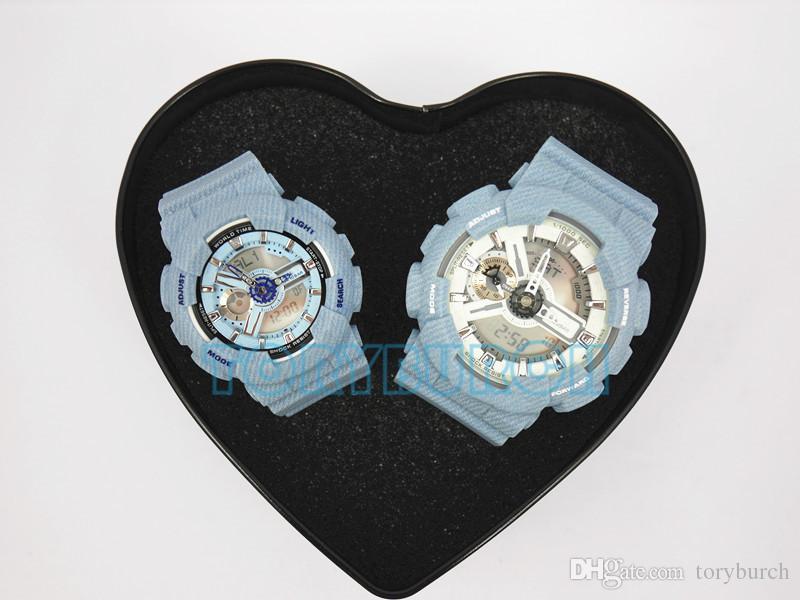 Пара смотреть Рождественский подарок Высочайшего качества всех функции с водостойким Спортивными часами с сердцем коробкой для любовника для семьи