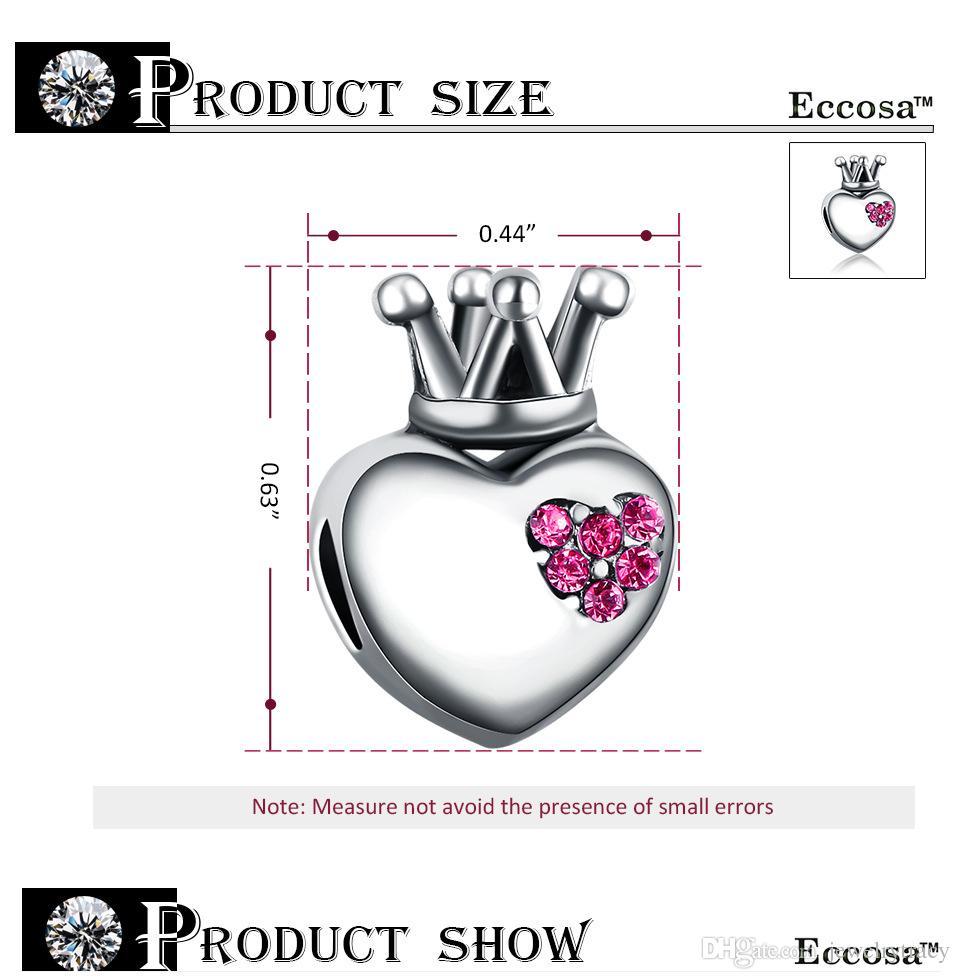 Love heart crown bead with crystal European spacer charm fit Pandora Chamilia Biagi bracelet Fits Pandora Bracelets Charm Beads