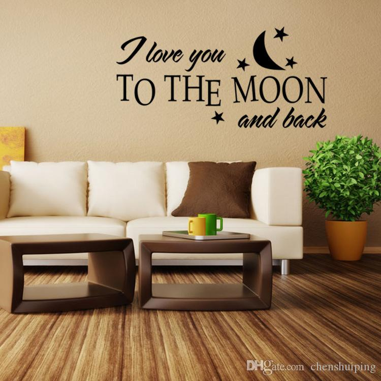 Customer-made Personalised I LOVE YOU to the moon and back Bedroom Wall Art Sticker, Decal, Mural for lovers' room