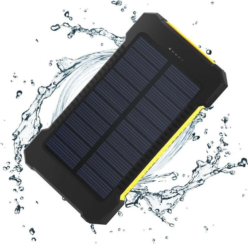 Waterproof solar power bank 10000mah universal battery charger with LED flashlight and compass for outdoor camping