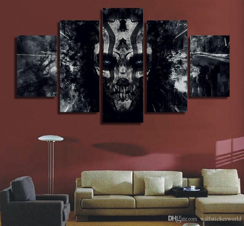 5 Adet / takım Çerçeveli Baskılı Koyu boyalı kafatası Boyama Tuval Baskı odası dekor baskı posteri resim tuval Ücretsiz nakliye / ny-4948
