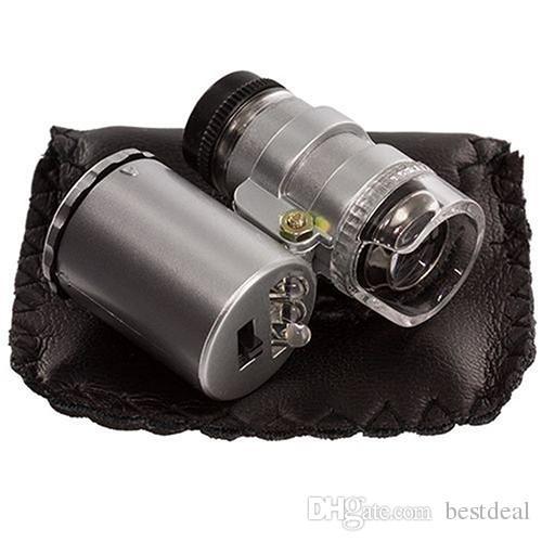 핸드 헬드 60X 보석상 확대경 돋보기 돋보기 쥬얼리 루페 미니 확대경 현미경 LED가있는 송료 무료