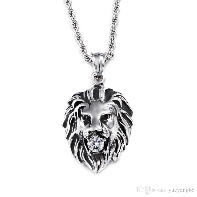 """Rock&Roll Gothic Men 316L Stainless Steel Casting Silver Cool Lion Head CZ Charm Pendant With Free 22"""" Rope Necklace chain"""
