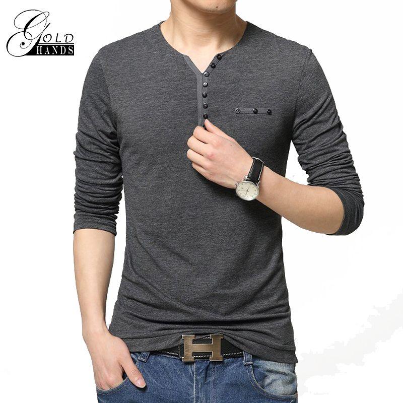 33460b7f152 Men s Fashion Slim Fit Long Sleeve Breathable T-Shirts Stylish Men V ...