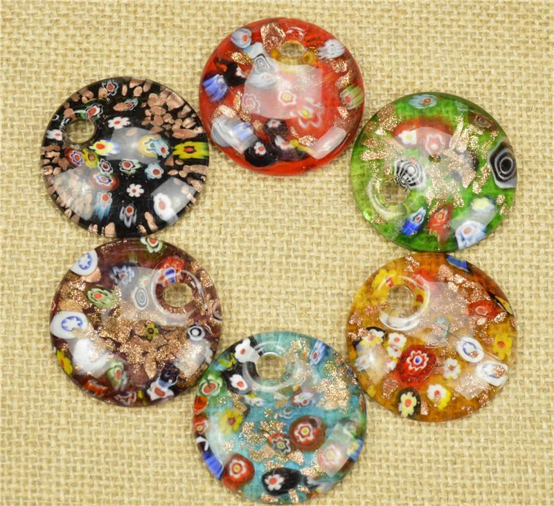 2016 Glas Anhänger Halskette Runde Geformte Murano Glas Schmuck Lampwork Glasur Anhänger in Groß Günstige 12 teile / los