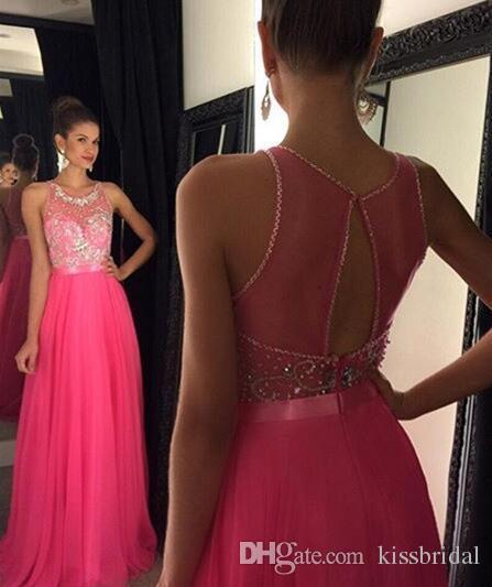 Luxury 2016 Prom Dresses Crystal Beaded Jewel A Line Jewel Neck Sleeveless Key Hole Back Floor Length 2017 Chiffon Evening Gowns Party Dress