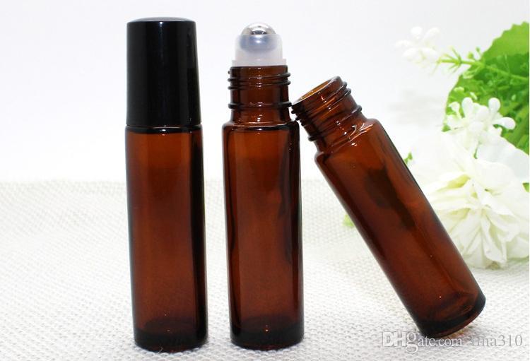 Portable 10ML MINI ROLL ON Profumo bottiglia di vetro PERFUME Marrone ambra BOTTIGLIE DI VETRO bottiglia ESSENZIALE di OLIO Acciaio Roller roller in metallo 3010