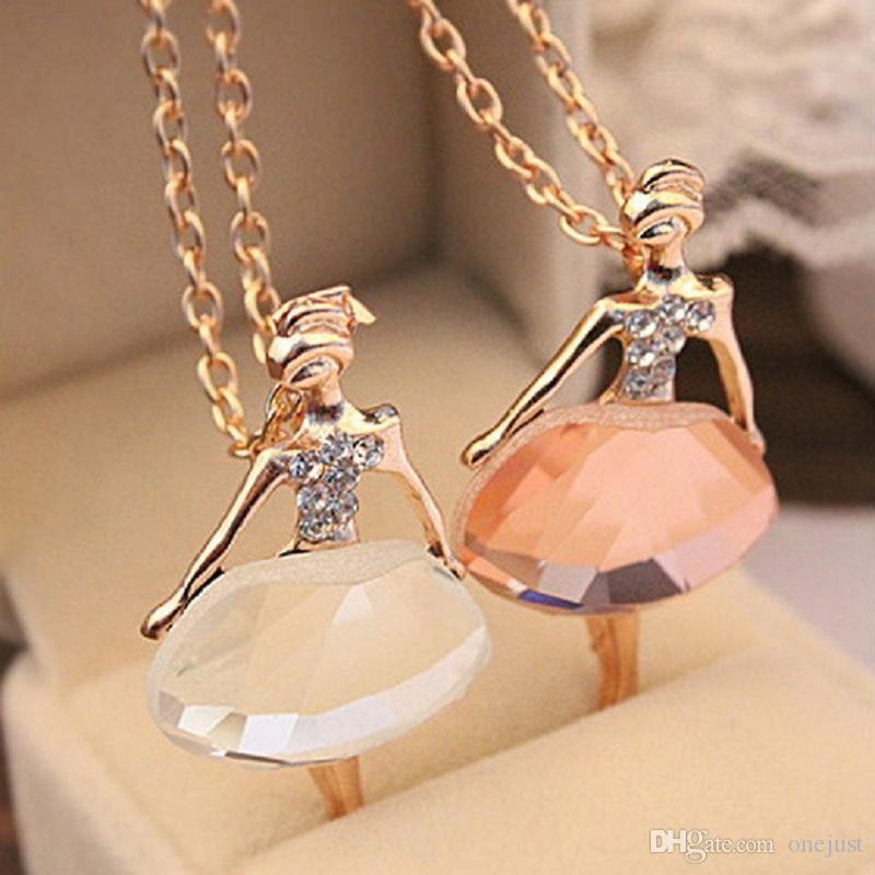 Wholesale women rhinestone ballet dancer girl clavicle long chain wholesale women rhinestone ballet dancer girl clavicle long chain necklace pendant jewelry c00054 ost rose gold pendant necklace silver charms from onejust mozeypictures Image collections