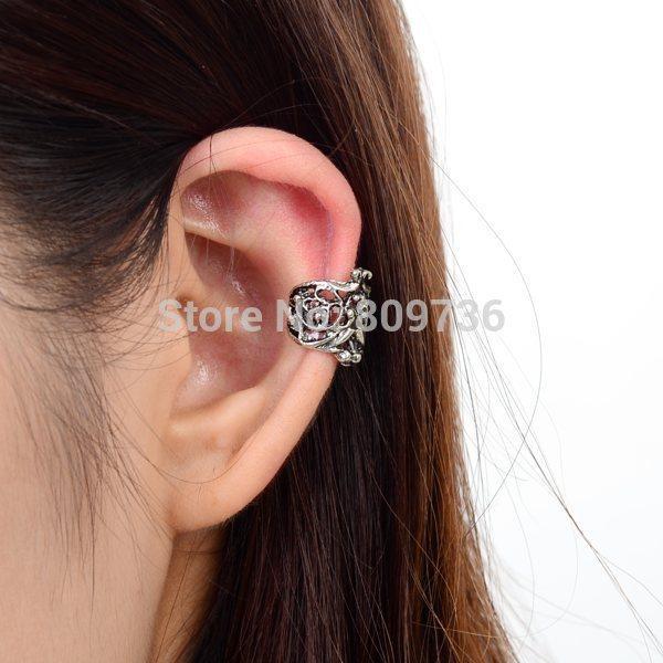 24 UNIDS Punky de Plata de La Vendimia Ahueca Hacia Fuera el Patrón U Ear Cuff Wrap Ear Clip Pendiente Mujeres Al Por Mayor de Joyería de Moda