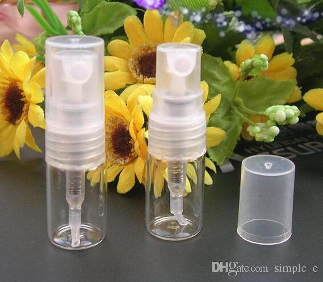 2000 stks / partij Mini Clear Glass 2ml Verstuiver Flessenpomp Hervulbare Parfum Fijn Mist Spray Lege Fles Voorbeeld Vial