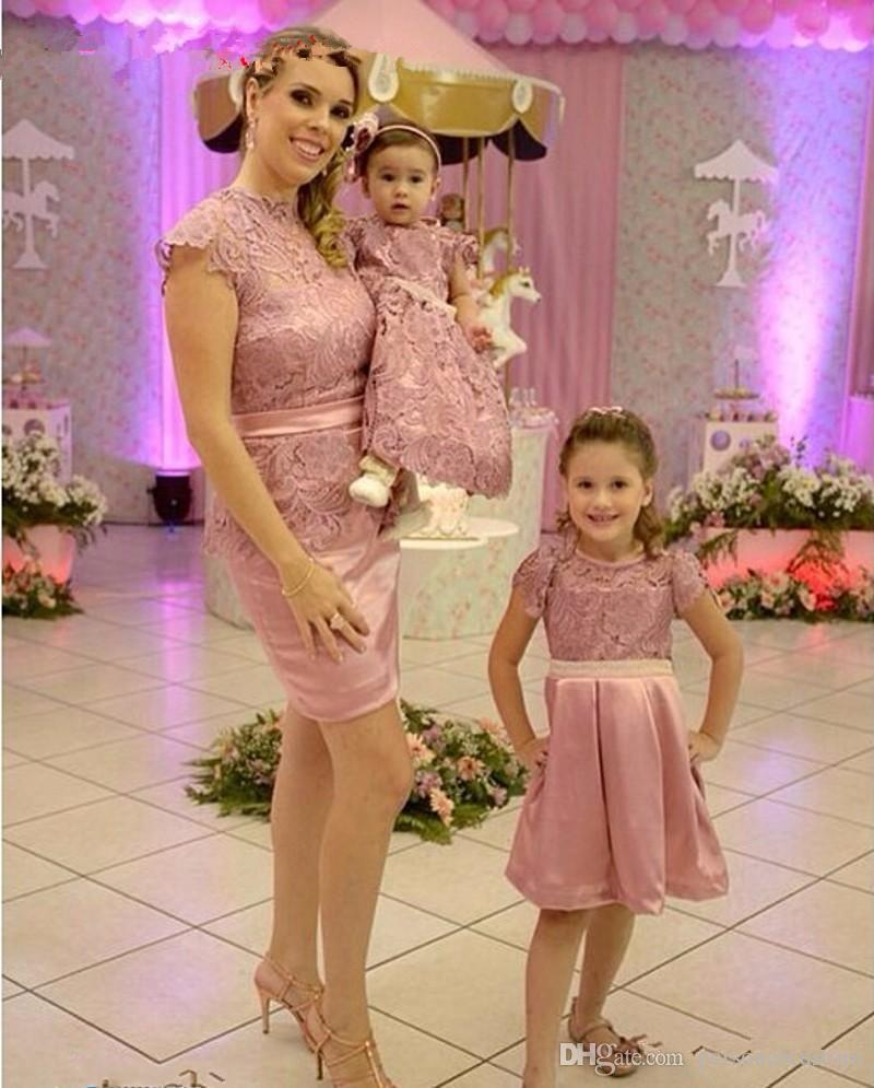 Cap Lace Sheath Prom Dresses Matching For Mother And Daughter Good ...