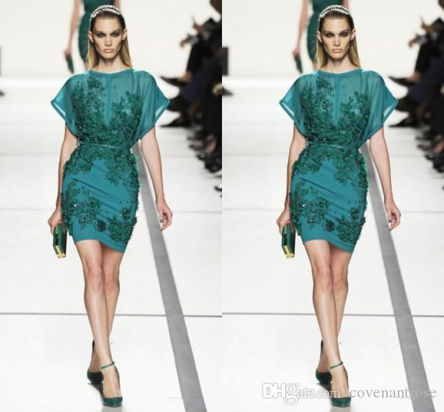 2017 Short Elie Saab Cocktail Dresses Evening Wear Crew Sheer Appliques  Beads Sequins Capped Green Prom Gowns Cheap Party Drees Glamorous Cocktail  Dresses ... fd08471f6
