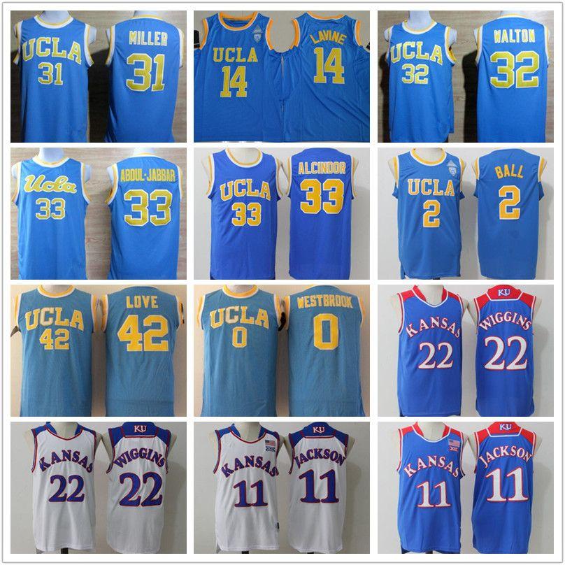 90dccbb15e7 2018 Men Youth Ucla Bruins College Jersey 14 Zach Lavine Lonzo Ball Kansas  Jayhawks 11 Josh Jackson 22 Andrew Wiggins Basketball Jerseys Cheap From ...