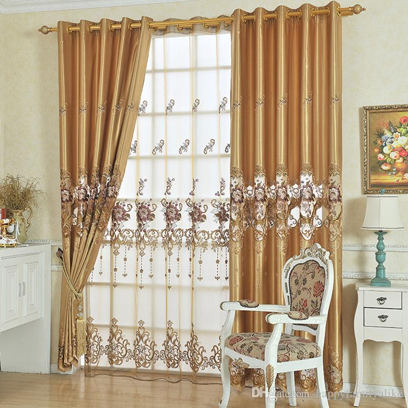 2018 European Style Lace Cuitains Simulation Silk Flower Embroidery Living  Room Bedroom Curtains Elegant Valance Curtain Clothu0026Gauze From  Happyfamilyalike, ...