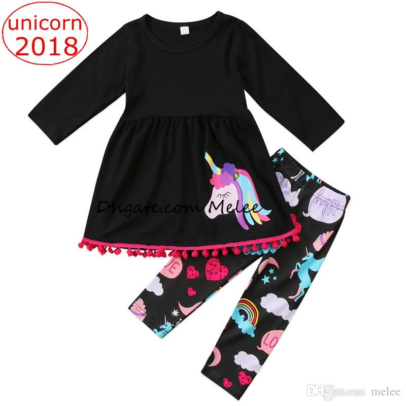 ec9f8d132 2019 INS Christmas Unicorn Kids Baby Girls Outfits Clothes Tassels T ...