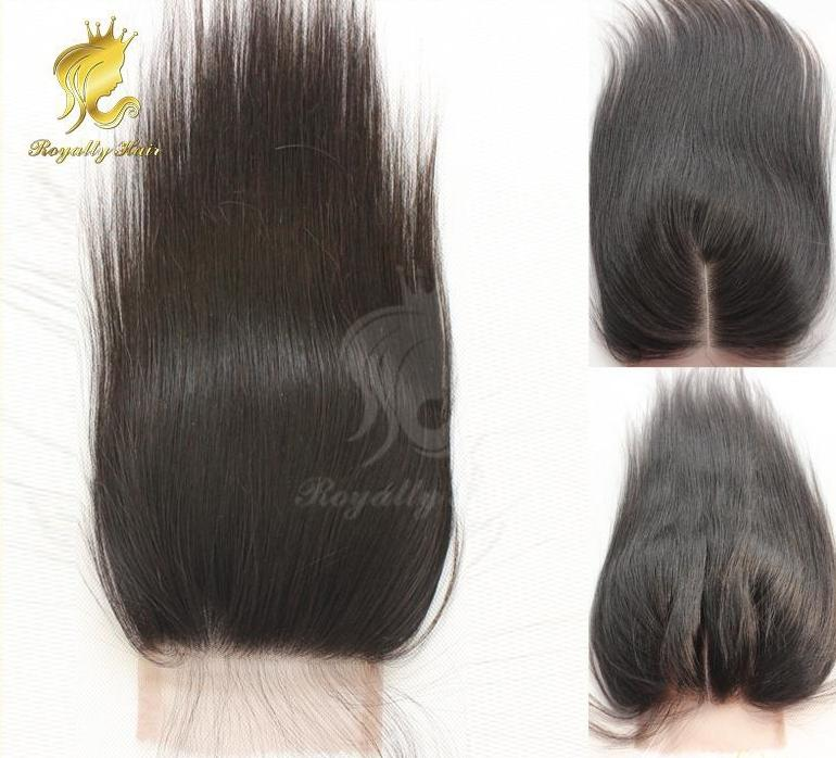 cheapest 3.5*4 Human Peruvian Hair Swiss Lace Straight Lace Closure Free Middle 3 Part Closure Bleach Knot