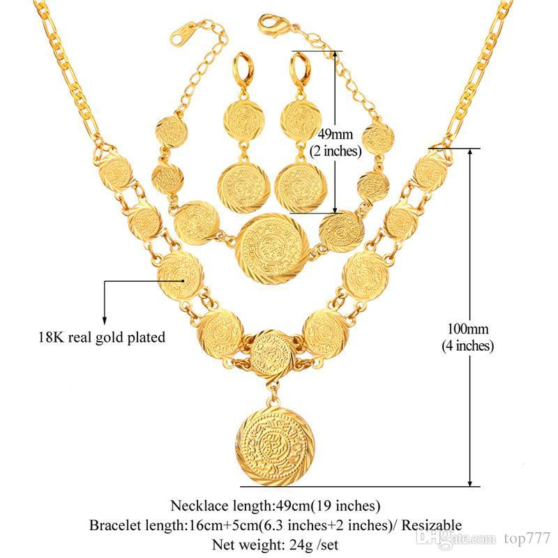 2018 Dubai Gold Plated Jewelry Set For Women African Ethiopian Jewelry 18k St& Antique Coin Bracelet Earrings Necklace Set U7 S675 From Top777 ...  sc 1 st  DHgate.com & 2018 Dubai Gold Plated Jewelry Set For Women African Ethiopian ...