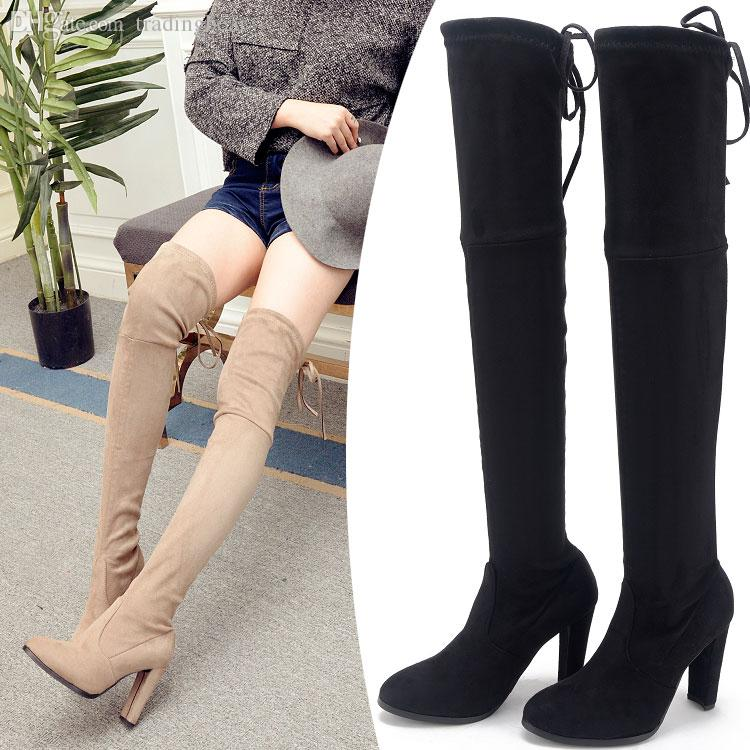 322c1111 ViVi lena Lace Up Elastic Suede Chunky Heels Over The Knee Boots Ladies  Winter Size 34 To 40