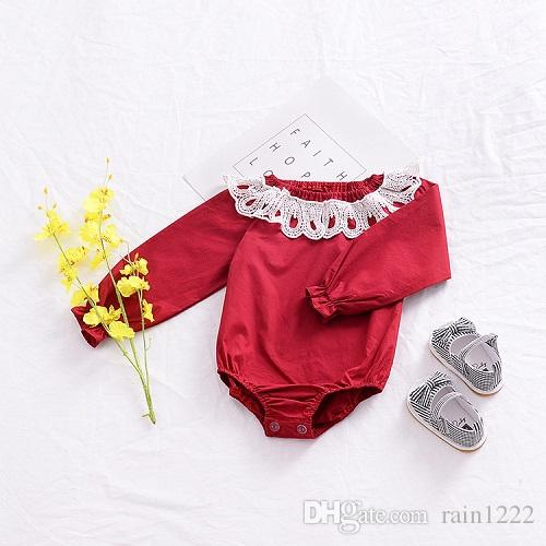 Baby Girls Rompers Onepiece Clothes Newborn Toddlers Red Lace Long Sleeve Briefs Jumpsuits Infants Babies Cotton Red Onesies Clothing 0-3Y