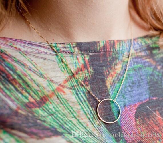 Moda Jóias Mulheres Retro Cadeia Colar Simples Círculo Anel Declaração Bib Chunky Colar Pingente Colares Charme Sexy moda Jewellry