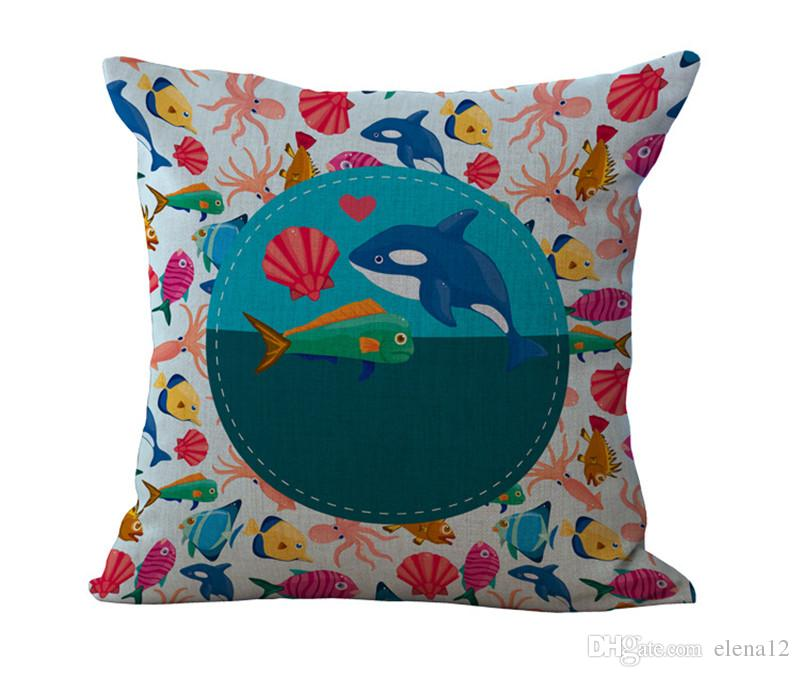 Famous Designer Home Decorative Linen Pillow Case Cover For Brand Quality Pillowcase The World Of Small Fish Series Pattern 240552