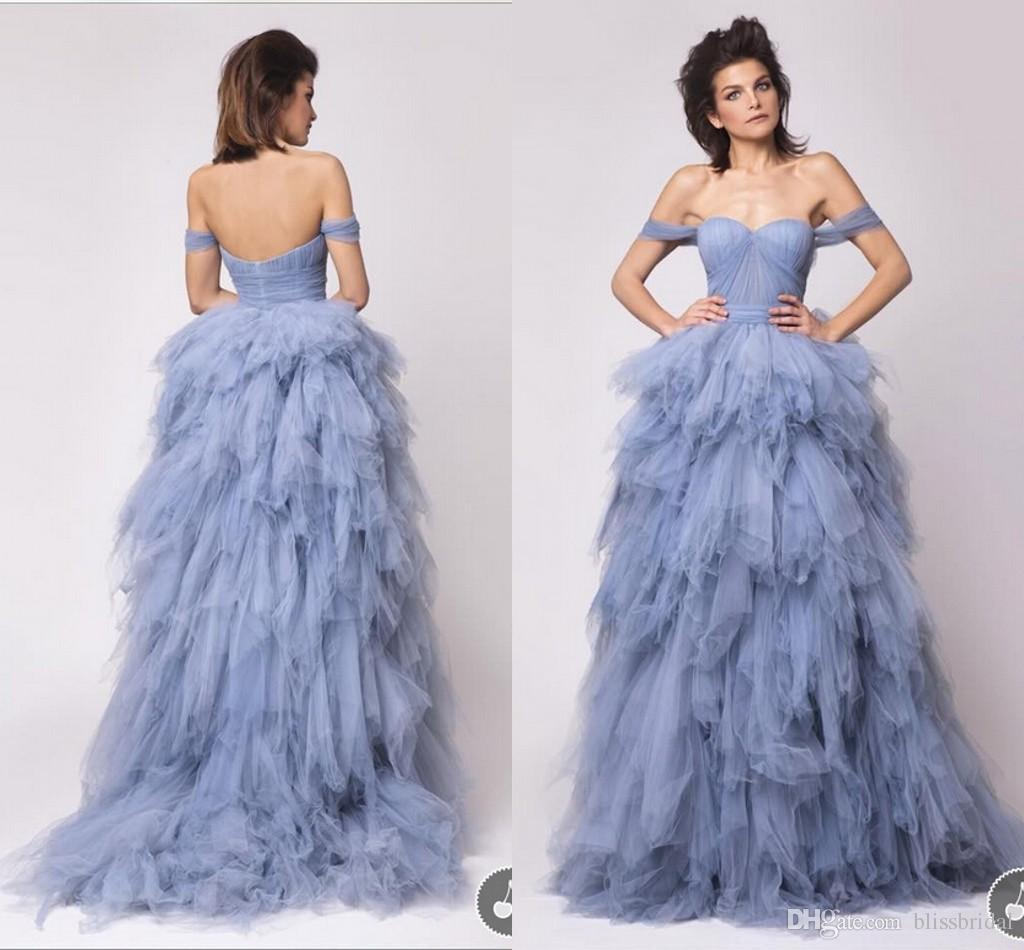 Elegant Ball Gown Flouncing Ruffles Evening Dresses Off The Shoulder Pleated Backless Sexy Prom Gowns Blue Party Yellow 1950s