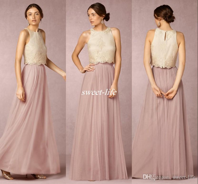 9154f8cf8ea 2016 Two Pieces Bridesmaids Dresses Crew Neck Chiffon Tulle A Line Pleats Lace  Applique Pastels Maid Of Honor Prom Gowns Cheap Custom Made Chiffon ...