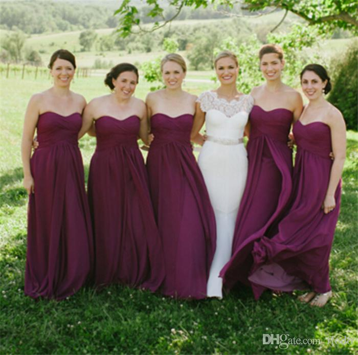 2016 Cheap Dark Purple Chiffon Plus Size Bridesmaid Dresses Under