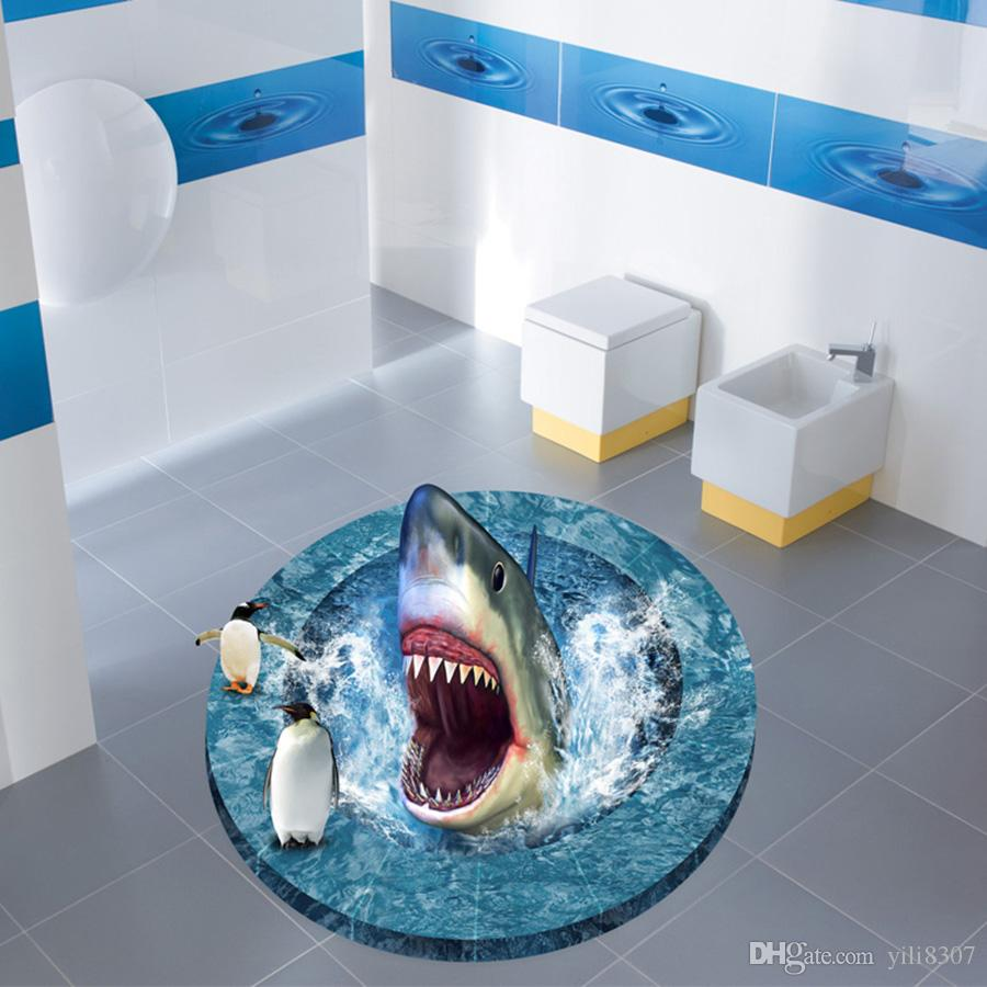 3d Broken Floor Generic Jaws Penguin Water Amazed Bathroom Wall ...