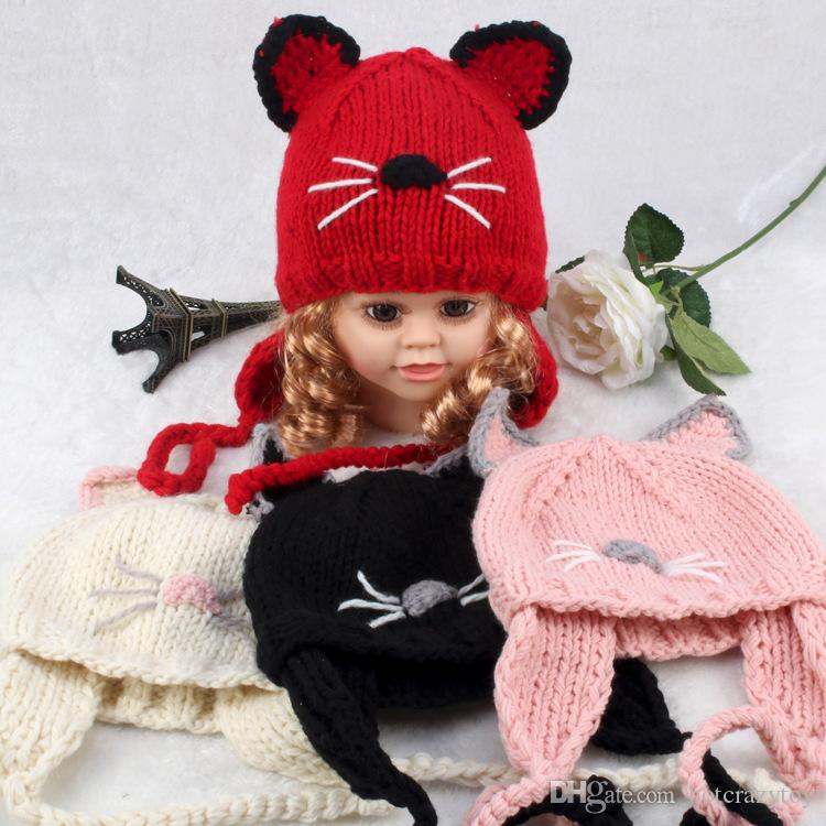Winter Baby Knitted Beanies Cute Cat Ears Beanie Cap Ear Protection Hat For Girls boys Handmade Crochet Beanie 6M-3T Infant