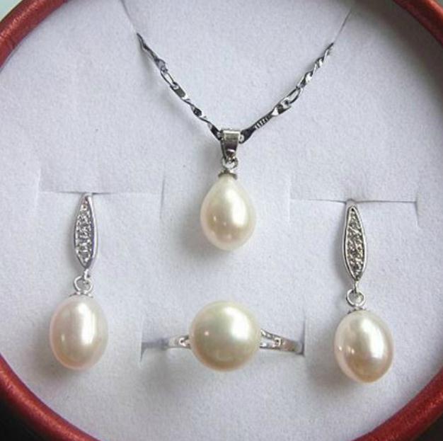 Новый 8-9 мм рис форма белый натуральный жемчуг кулон ожерелье серьги кольцо набор