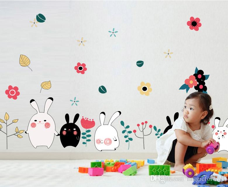 Cartoon Rabbit Wall Border Decal Sticker Kids Boys Girls Room Flower Butterfly Wall Art Mural Poster Wall Baseboard Applique