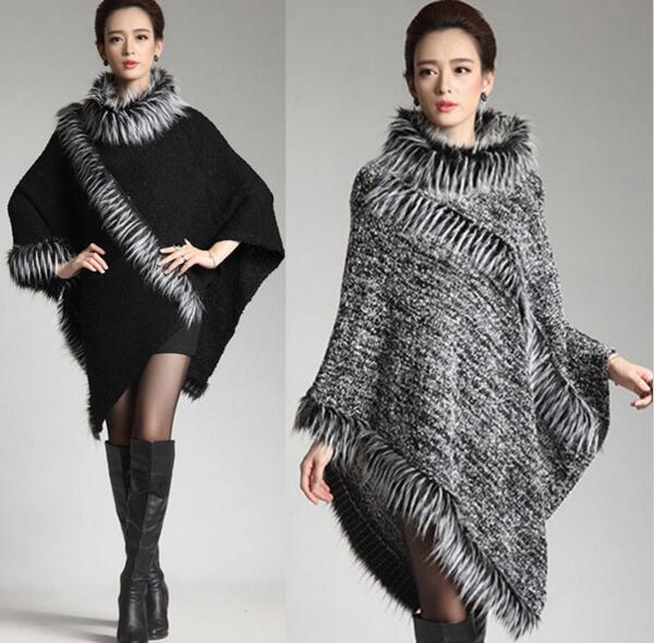 2016 brand ladies knitted poncho shawl wrap long style with tassels stand fake fox fur collar big triangle shawl cape for ladies