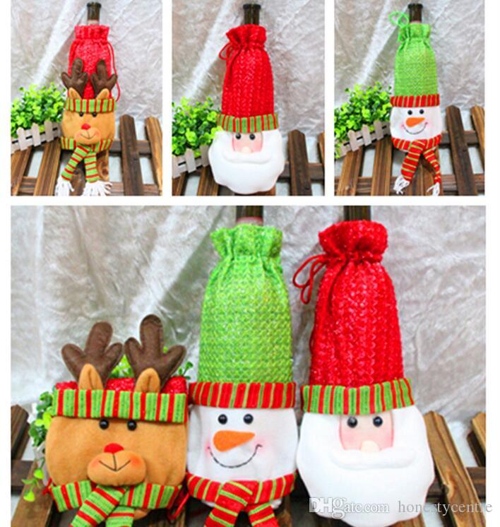 Christmas Decorations Wine Bottle Cover Bags Decor Banquet Santa ...