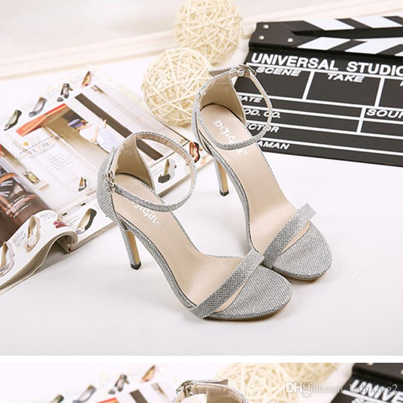 2016 new black golden silvery women sexy pumps lady fashion Open toe thin high heels shoes female sexy heels Sandals shoe