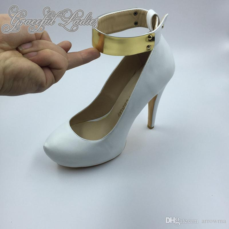 2016 White Wedding Bridal Shoes Real Image Custom Made Plus Size Womens Pumps Sexy Summer Style Bridall Accessories Cheap Modest