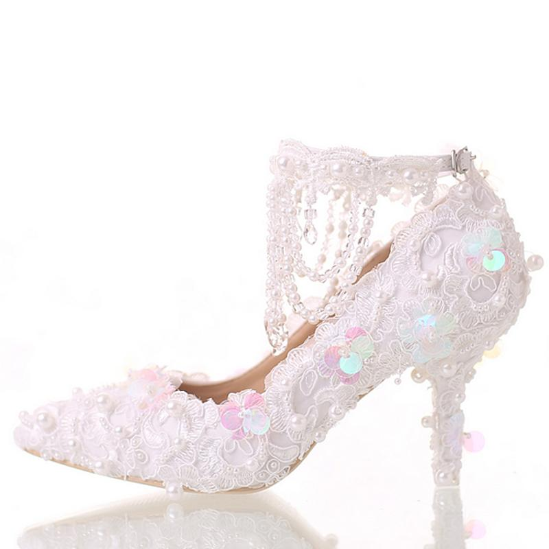 f6858b2d54e Beautiful White Bride Shoes Lace Platform Formal Dress Shoes with Ankle  Straps Glitter Sequins Party Prom Pumps Pointed Toe