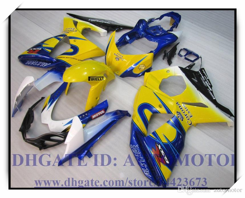 Kit de carénage d'injection 100% neuf digne de Suzuki GSXR1000 2009-2012 2010 2011 GSX-R1000 2009-2012 GSXR1000 09 10 11 12 # 37G4U JAUNE BLEU