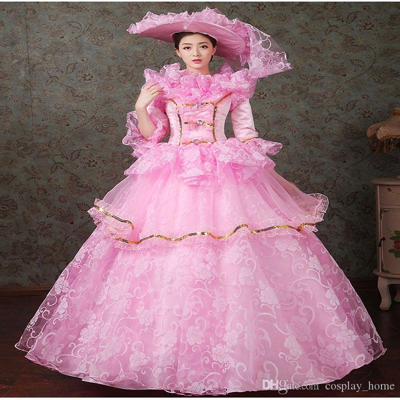 Hot Sale Pink Green Blue Purple Floral Lace Multi-layer Marie Antoinette  Gown Elegant Long Party Dress For Women Online with  167.67 Piece on  Cosplay home s ... 6880ecd2f