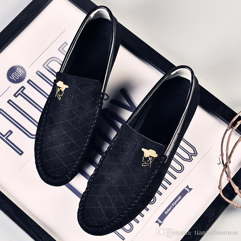 الربيع / الخريف الرجال الأحذية عارضة ضوء يصعب ارتداء المطاط الانزلاق على فلوك متعطل الرجال الأحذية الأخفاف الصلبة zapatos hombre
