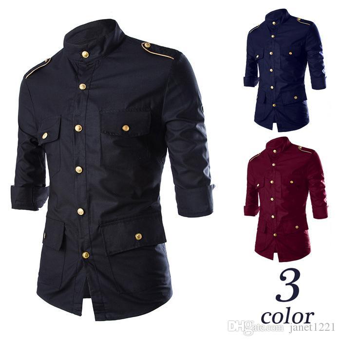 Multi-Pocket Mens Autumn Shirts Mid Sleeve Solid Casual Dress Shirts For Mens Epaulet Design Men Shirts Metal Button Slim Mens Shirt J160802