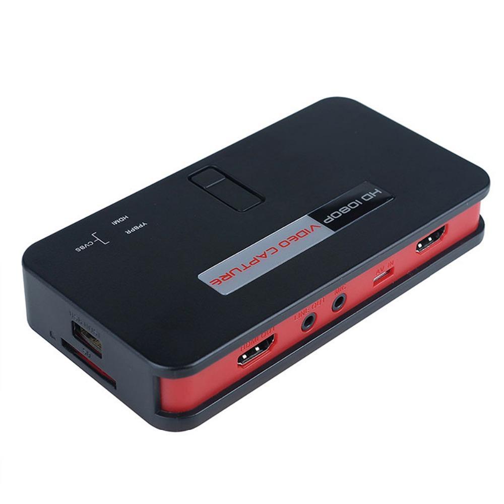 1080P HD Video Game Capture H-D-M-I Recorder Card H-D-MI / AV / YPBPR Videoregistratore TV con telecomando Supporto MIC USB Disk