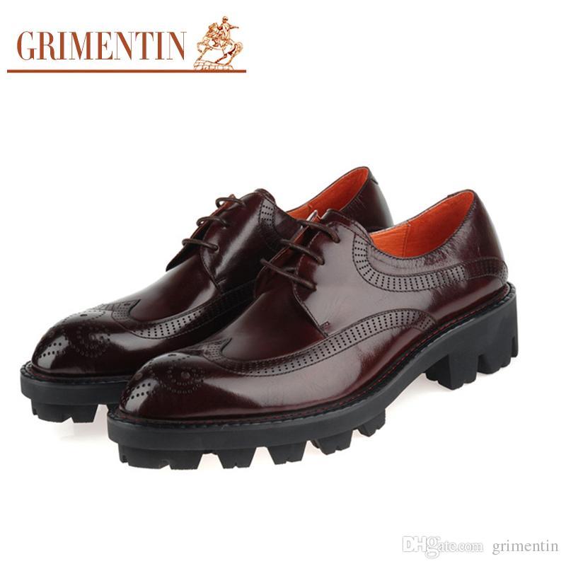 Genuino Única Zapatos Hombres Formales Venta Ala De Grimentin La Moda Punta Caliente Boda Los Aumentar Gruesa Cuero Marca Talla wN8m0vnO