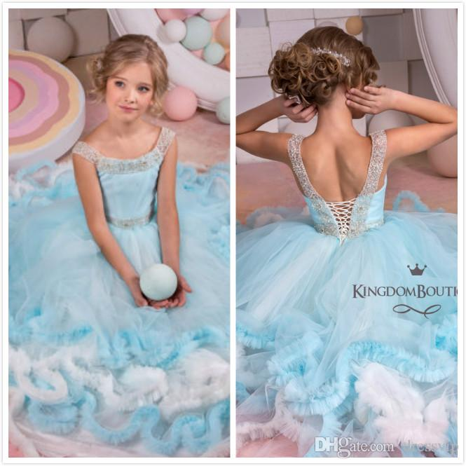 2cac1d810921 Ruffle Princess Girls Pageant Dresses White And Blue Beads Lace Up Back Flower  Girl Dress Beautiful Ball Gown Girls Dresses Christmas Cheap Flower Girl ...
